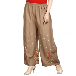 Littledesire Brown Embroidered Straight Palazzo