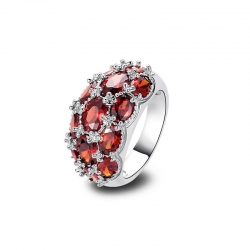 Littledesire Garnet 925 Sterling Silver Ring
