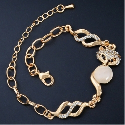 Littledesire Crystal Stone Gold Color Alloy Chain Bracelet
