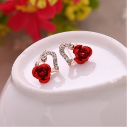 Littledesire Rhinestones Heart-shaped Rose Flower Stud Earring