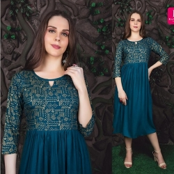 Littledesire Blue Color Gold Foil Printed Kurta