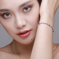 Rectangular Blue Crystal Rhinestone Zircon Bracelet