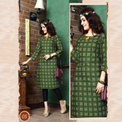 Littledesire Straight Round Neck Printed Green Kurta
