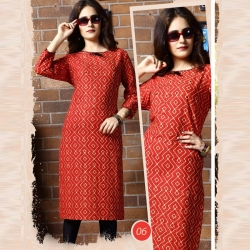 Littledesire Printed Straight Red Cotton Kurta