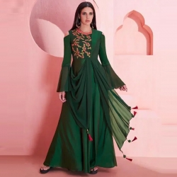 Littledesire Embroidered  Shoulder Cut Bell Sleeves Stylish Gown