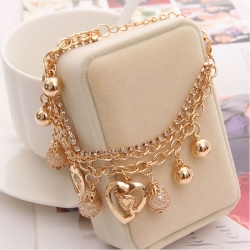 Littledesire Golden Multilayer Beaded Pendant Heart Charm Bracelet