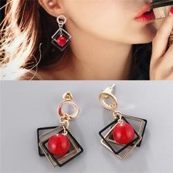 Littledesire Geometric Square Frames Red Pearl Earrings