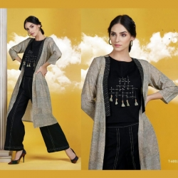 Littledesire Crop Top With Bottom & Shrug Kurta