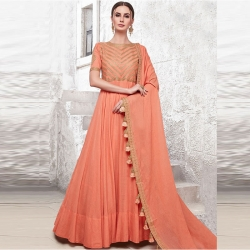 Littledesire Boat Neck Half Sleeve Gown With Dupatta