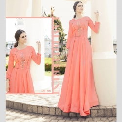 Littledesire Round Neck Embroidered Work Peach Gown