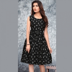 Littledesire Round Neck Printed Black Dress