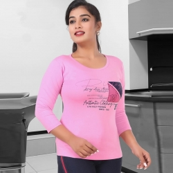 Littledesire Printed Cotton Women Pink T-Shirt