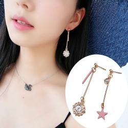 Littledesire Fashion Cute Pink Star Clock Earrings