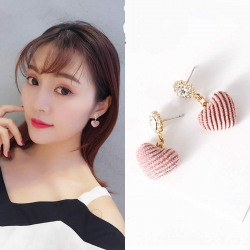 Cute Pink Love Heart-shaped Crystal Earrings