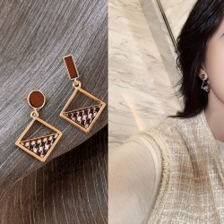 Littledesire Geometric Square Houndstooth Earrings