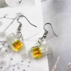 Funny Cute Cup Resin Transparent Dangle Earrings