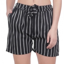 Women Striped Printed Regular Fit Black Shorts