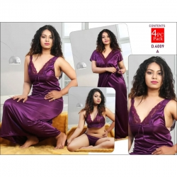 Lace design Satin Long Wrap Gown & Nighty 4pcs