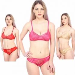 Bridal Premium Lace Soft Net Bra Panty - 3 Set