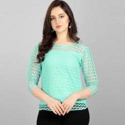 Round Neck High Quality Fashion Lace Sea Green Top