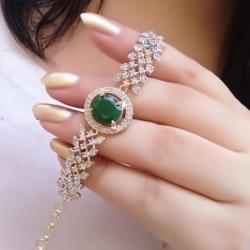 Leaf Chain Crystal Rhinestone Round Bracelet