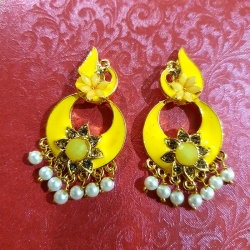 Flower Design Chandbali Pearl Earrings