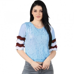 Women Round Neck Lace White Top
