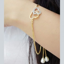 Jewelry Fashion CZ Love Heart Pearl Chain Bracelet