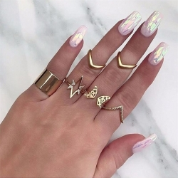 Star Butterfly V Shaped Geometric Gold Ring 6 Pcs/Set