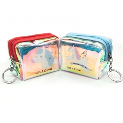 Unicorn Zipper Mini Coin Transparent Wallet With Key Ring- 2 Pcs