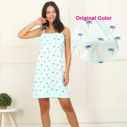 Printed Cotton SleepWear Dress