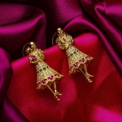 Creation Brass Plated High Quality Girls Jhumka Earrings
