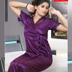 Solid Pattern Short Sleeve Light Satin Nighty