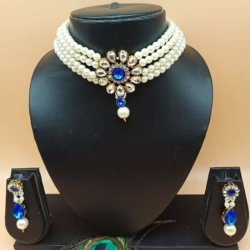 Royal Blue Statement Pearl kunda Choker Necklace Set
