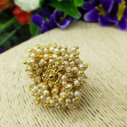Golden Plated Pearl Design Floral Finger Ring