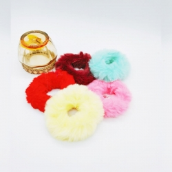 Soft Fluffy Fur Elastic Multicolour Hair Rubber Bands Pack of 5