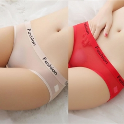 Letter Fashion Transparent Briefs Thong Panties Pack of 2