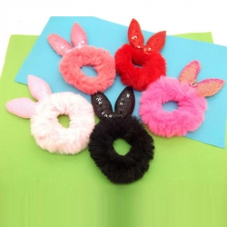 Fluffy Faux Fur Sequence Rubber Band Hair Pack of 4
