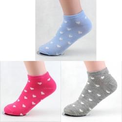 Candy Color Heart Shape Socks (3 Pair)