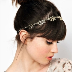 Fashion Metal Leaf Headband Head Chain Elastic Hair Band