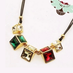 Geometric Space Triangle Pendant Necklace