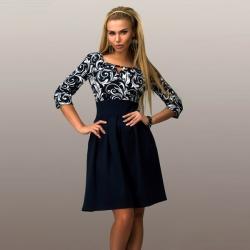 vintage Blue Print sexy Long Sleeve Square Collar Dress