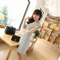 Casual Stripe Bandage Bodycon Dress