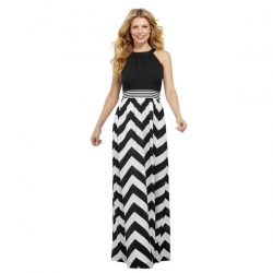 Trendy Black Patchwork Floor-Length Maxi Dress