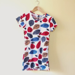 Leaf Print O Neck Long Top