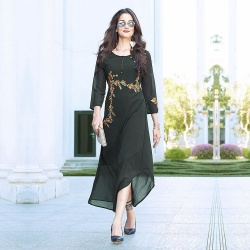 Dark Sacramento Georgette Embroidered Designer Kurti