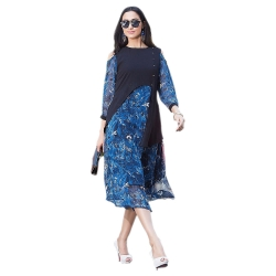 Blue Georgette Floral Printed Cold Shoulder Kurta