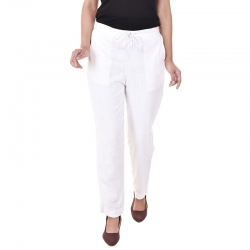 Littledesire Women Cotton Slub Best Stylish White Trouser