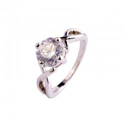 Littledesire White Topaz CZ Silver Plated Ring