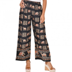 Littledesire Gold Printed Straight Palazzo - Black